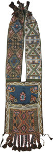 American Indian Art:Beadwork and Quillwork, AN OJIBWE LOOM-BEADED BANDOLIER BAG. c. 1870...