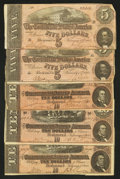Confederate Notes:1864 Issues, T68 $10 1864 Three Examples VF. T69 $5 1864 Two Examples Fine.. ... (Total: 5 notes)