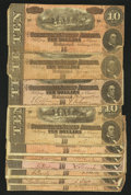 Confederate Notes:1864 Issues, T68 $10 1864 Ten Examples Very Good or Better.. ... (Total: 10 notes)