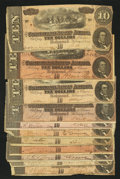 Confederate Notes:1864 Issues, T68 $10 1864 Eleven Examples Very Good or Better.. ... (Total: 11 notes)