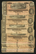 Confederate Notes:1864 Issues, T68 $10 1864 Ten Examples Fine or Better.. ... (Total: 10 notes)