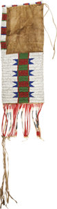 Other, A SIOUX BEADED HIDE TOBACCO BAG. c. 1890...