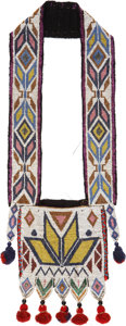 American Indian Art:Beadwork and Quillwork, A WINNEBAGO CHILD'S LOOM-BEADED BANDOLIER BAG. c. 1890...