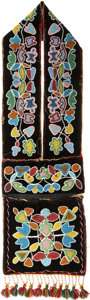 American Indian Art:Beadwork and Quillwork, A WESTERN GREAT LAKES BEADED CLOTH BANDOLIER BAG. c. 1890...