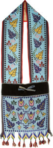 American Indian Art:Beadwork and Quillwork, A WESTERN GREAT LAKES LOOM-BEADED BANDOLIER. c. 1890...