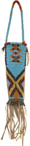 American Indian Art:Beadwork and Quillwork, A SIOUX BEADED HIDE KNIFE SHEATH. c. 1885. ...