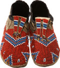 American Indian Art:Beadwork and Quillwork, A PAIR OF SIOUX BEADED HIDE MOCCASINS. c. 1910 ... (Total: 2 Items)