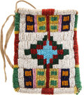 American Indian Art:Beadwork and Quillwork, A SIOUX BEADED HIDE RATION CARD HOLDER. c. 1890...