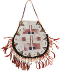 American Indian Art:Beadwork and Quillwork, A LARGE SIOUX BEADED HIDE PICTORIAL POUCH. c. 1900...