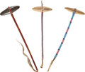 American Indian Art:Pipes, Tools, and Weapons, THREE SIOUX STONEHEAD CLUBS. c. 1900... (Total: 3 Items)