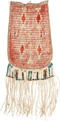 American Indian Art:Beadwork and Quillwork, A SIOUX QUILLED HIDE POUCH. c. 1900...