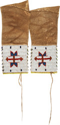 American Indian Art:Beadwork and Quillwork, A PAIR OF CHEYENNE GIRL'S BEADED HIDE LEGGINGS. c. 1900... (Total:2 Items)