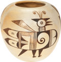 American Indian Art:Pottery, A HOPI BLACK-ON-WHITE JAR. Attributed to Sadie Adams. c. 1940...