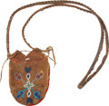American Indian Art:Beadwork and Quillwork, A PLATEAU BEADED HIDE POUCH. Probably Nez Perce. c. 1875...