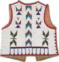 American Indian Art:Beadwork and Quillwork, A SIOUX BOY'S BEADED HIDE VEST. c. 1890...