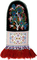 Paintings, A CREE BEADED CLOTH FIRE BAG. c. 1880...