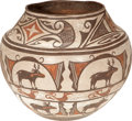 American Indian Art:Pottery, A ZUNI POLYCHROME STORAGE JAR. c. 1930s...