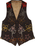 American Indian Art:Beadwork and Quillwork, A GREAT LAKES MAN'S BEADED CLOTH VEST. c. 1910...