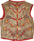American Indian Art:Beadwork and Quillwork, A SIOUX MAN'S QUILLED HIDE VEST. c. 1890...