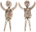 American Indian Art:Jewelry and Silverwork, A PAIR OF CONTEMPORARY LAGUNA SILVER FERTILITY FETISHES. ...(Total: 2 Items)