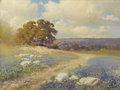 Texas:Early Texas Art - Impressionists, ROBERT WOOD (1889-1979). Bluebonnets Near San Angelo, mid1930s to early 1940s. Oil on canvas. 17-1/2 x 23-1/2 inches (4...