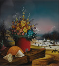 Fine Art - Painting, European:Contemporary   (1950 to present)  , Ivan Vecenaj (Croatian, born 1920). . Untitled (Still lifewith winter landscape) . 1979. Reverse oil on...