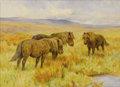 Fine Art - Painting, European:Modern  (1900 1949)  , Arthur Wardle (British, 1864 -1949). . Shetland Ponies.Undated. Oil on board. Signed with initials on lower left. 1...