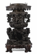 Asian:Japanese, A Japanese Bronze Usabata. Unknown maker, Japanese. 19th century.Bronze. Unmarked. 42 inches high. With a rockery and p...