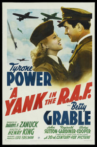 "A Yank in the R.A.F. (20th Century Fox, 1941). One Sheet (27"" X 41"") Style B. War"