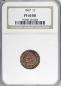 Proof Indian Cents, 1867 1C PR65 Red and Brown NGC....