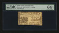 Colonial Notes:New Jersey, New Jersey June 22, 1756 1s PMG Choice Uncirculated 64 EPQ....