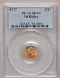 Commemorative Gold: , 1917 G$1 McKinley MS65 PCGS. PCGS Population (562/402). NGC Census:(249/212). Mintage: 10,000. Numismedia Wsl. Price for p...