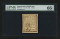 Colonial Notes:Pennsylvania, Pennsylvania June 18, 1764 3d PMG Gem Uncirculated 66 EPQ....
