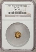 California Fractional Gold, 1872 50C Liberty Round 50 Cents, BG-1013, Low R.6, MS66 NGC....