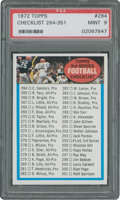Football Cards:Singles (1970-Now), 1972 Topps Checklist 264-351 #294 PSA Mint 9....