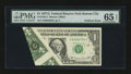 Error Notes:Foldovers, Fr. 1910-J $1 1977A Federal Reserve Note. PMG Gem Uncirculated 65EPQ.. ...