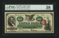 Large Size:Legal Tender Notes, Fr. 95b $10 1863 Legal Tender PMG Choice About Unc 58....