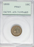 Proof Seated Dimes: , 1888 10C PR63 PCGS. PCGS Population (29/92). NGC Census: (26/140).Mintage: 832. Numismedia Wsl. Price for problem free NGC...