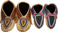 American Indian Art:Beadwork and Quillwork, TWO PAIRS OF DELAWARE BEADED HIDE MOCCASINS. c. 1890... (Total: 4Items)
