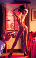 Pin-up and Glamour Art, GREG HILDEBRANDT (American, b. 1939). Hotel Nights, AmericanBeauties pin-up, 1999. Acrylic on board. 38 x 24 in.. Signe...
