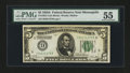 Fr. 1951-I $5 1928A Federal Reserve Note. PMG About Uncirculated 55