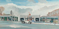 Mainstream Illustration, FRED ROMLEY (American, 20th Century). Victor Berlotti OldsmobileDealership Building, 1951. Gouache on board. 21 x 42.5 ...
