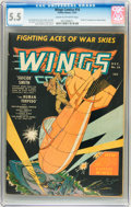 Golden Age (1938-1955):War, Wings Comics #16 (Fiction House, 1941) CGC FN- 5.5 Cream tooff-white pages....