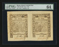Colonial Notes:Rhode Island, Rhode Island May 1786 1s-6d Uncut Pair PMG Choice Uncirculated64....