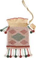 American Indian Art:Beadwork and Quillwork, A WESTERN GREAT LAKES BEADED HIDE DRAWSTRING POUCH. c. 1900...