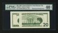 Error Notes:Obstruction Errors, Fr. 2084-J $20 1996 Federal Reserve Note. PMG Extremely Fine 40EPQ.. ...