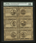 Colonial Notes:Continental Congress Issues, Continental Currency July 22, 1776 Counterfeit Detector Part Sheetof Six PMG About Uncirculated 55....