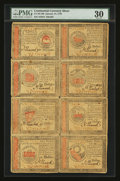 Colonial Notes:Continental Congress Issues, Continental Currency January 14, 1779 Sheet of Eight PMG Very Fine30....
