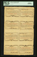 Colonial Notes:New York, New York March 5 , 1776 (Water Works) 8s Sheet of Eight PCGS ChoiceNew 63PPQ....