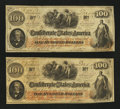 Confederate Notes:1862 Issues, T41 PF-6 $100 1862 Two Examples.. ... (Total: 2 notes)